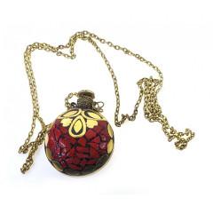 Аромакулон бронзовый инкрустирован красными камнями (5,5х4,5х2 см)