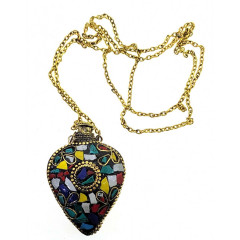 "Аромакулон ""Сердце"" бронзовый инкрустирован камнями (5,5х4,5х2 см)"