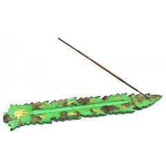 "Подставка под благовония ""Лист"" зеленая (26х4х0,5 см)"