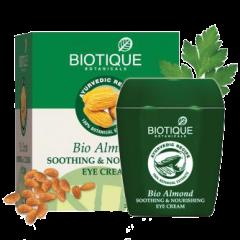 Успокаивающий и питательный ночной крем для глаз Био Миндаль Biotique, 175г