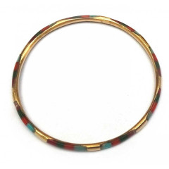 Браслет медный с красно-зелен-голубыми костяными вставками (d-7 см, ширина 4 мм)