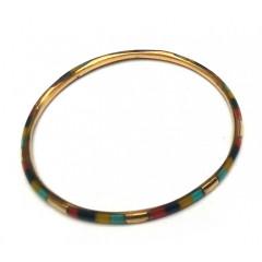 Браслет медный с черно-красно-желто-голубыми костяными вставками (d-7 см, ширина 4 мм)