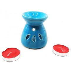Аромалампа керамическая ,подарочный набор бирюзовая (12,5х8х7см)