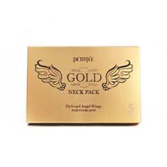 Гидрогелевая маска для шеи с плацентой PETITFEE Hydrogel Angel Wings Gold Neck Pack 10г, 5 шт