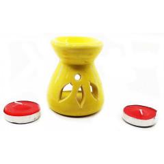 Аромалампа керамическая ,подарочный набор желтая (12,5х8х7см)