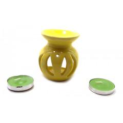 Аромалампа керамическая ,подарочный набор желтая (12х8х7см)