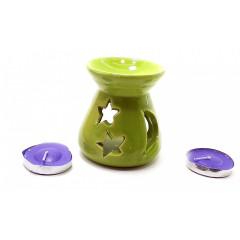 Аромалампа керамическая ,подарочный набор зеленая (12,5х8х7см)