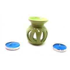 Аромалампа керамическая ,подарочный набор зеленая (12х8х7см)