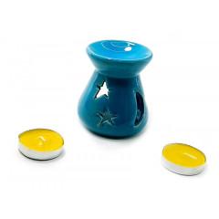 Аромалампа керамическая ,подарочный набор синяя (12,5х8х7см)