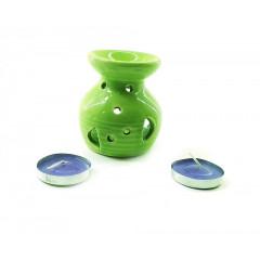 Аромалампа керамическая ,подарочный набор зеленая (12,5х8х7,5 см)