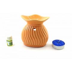 Аромалампа керамическая оранжевая подарочный набор (15х11х6 см)